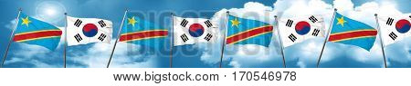 Democratic republic of the congo flag with South Korea flag, 3D