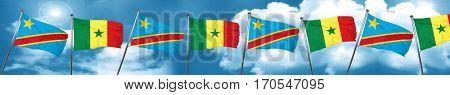 Democratic republic of the congo flag with Senegal flag, 3D rend