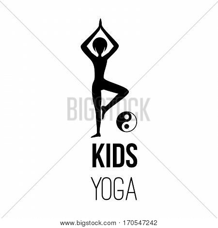 Sport club logo design template with kid silhouette in pose and om yoga sign, isolated element