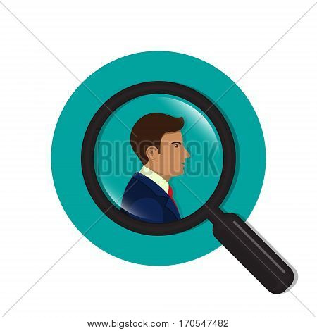 Search for employees and job business human resource. Search man vector icon. Magnifying glass with men inside.