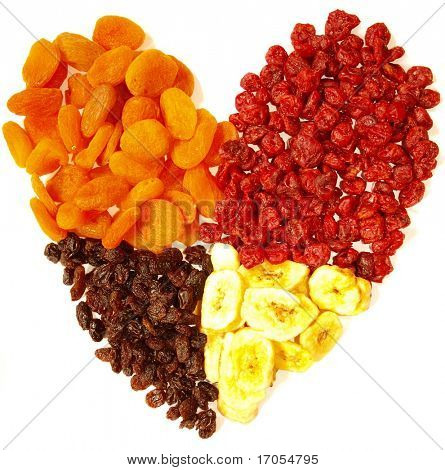 dried fruits heart isolated on white
