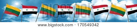 Lithuania flag with Syria flag, 3D rendering