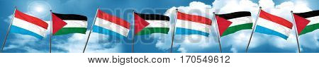 Luxembourg flag with Palestine flag, 3D rendering