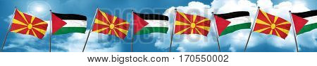 Macedonia flag with Palestine flag, 3D rendering