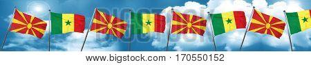 Macedonia flag with Senegal flag, 3D rendering