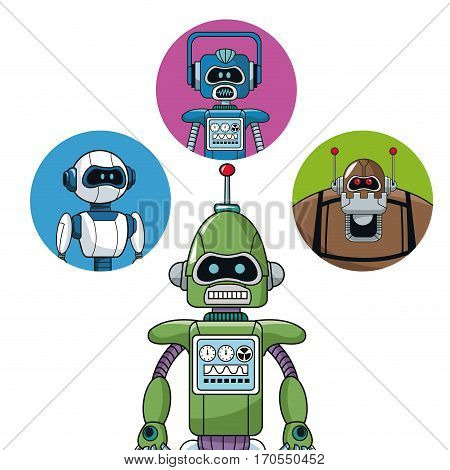 green robot machine engineering with icons robots vector illustration eps 10