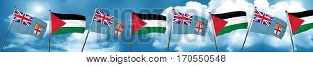 Fiji flag with Palestine flag, 3D rendering