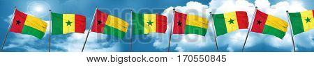 Guinea bissau flag with Senegal flag, 3D rendering