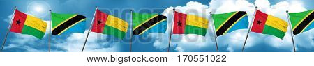 Guinea bissau flag with Tanzania flag, 3D rendering