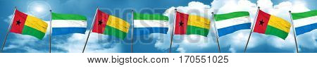 Guinea bissau flag with Sierra Leone flag, 3D rendering