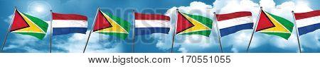 Guyana flag with Netherlands flag, 3D rendering