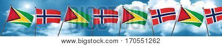 Guyana flag with Norway flag, 3D rendering
