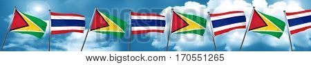 Guyana flag with Thailand flag, 3D rendering