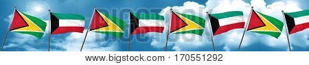 Guyana flag with Kuwait flag, 3D rendering