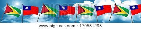Guyana flag with Taiwan flag, 3D rendering
