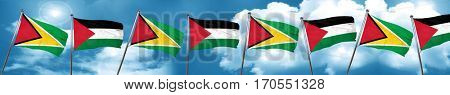 Guyana flag with Palestine flag, 3D rendering