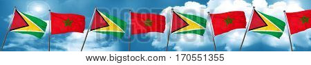 Guyana flag with Morocco flag, 3D rendering
