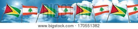 Guyana flag with Lebanon flag, 3D rendering