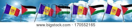 Andorra flag with Palestine flag, 3D rendering