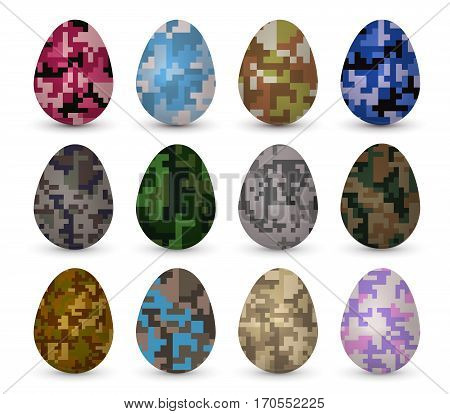 Easter realistic colorful eggs set with different pixel camo pattern fill. Vector illustration