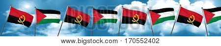 Angola flag with Palestine flag, 3D rendering