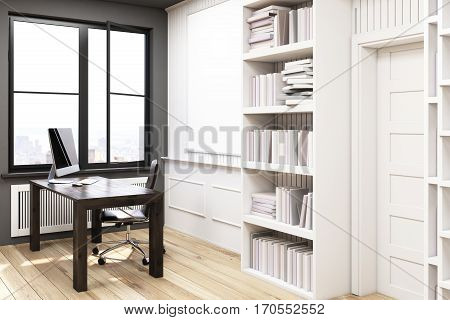 Home Library With A Desk, White, Side View