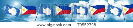 antarctica flag with Philippines flag, 3D rendering