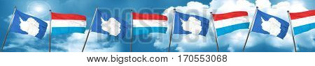 antarctica flag with Luxembourg flag, 3D rendering