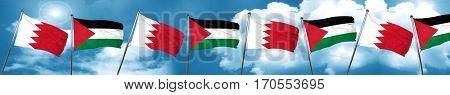 Bahrain flag with Palestine flag, 3D rendering