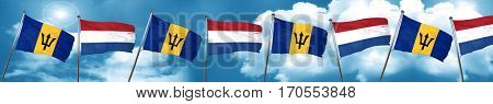 Barbados flag with Netherlands flag, 3D rendering