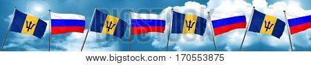 Barbados flag with Russia flag, 3D rendering