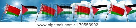 Belarus flag with Palestine flag, 3D rendering