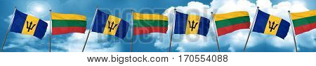 Barbados flag with Lithuania flag, 3D rendering