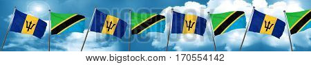 Barbados flag with Tanzania flag, 3D rendering