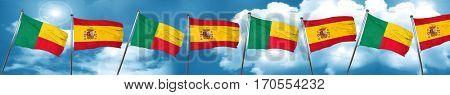 Benin flag with Spain flag, 3D rendering