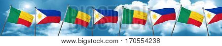 Benin flag with Philippines flag, 3D rendering