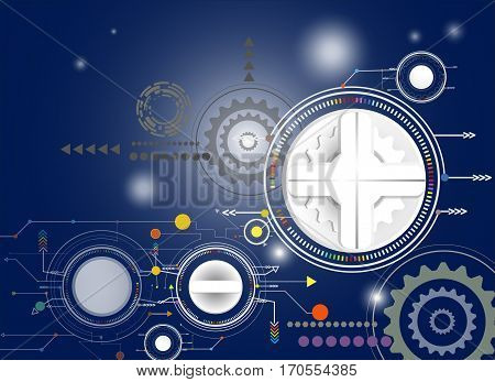 Vector illustration Hi-tech digital technology design colorful on circuit board and gear wheel engineering digital telecoms technology concept Abstract futuristic- technology on blue color background