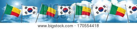 Benin flag with South Korea flag, 3D rendering