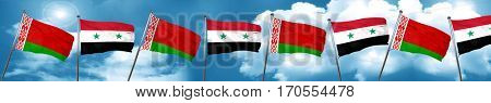 Belarus flag with Syria flag, 3D rendering