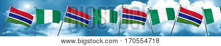 Gambia flag with Nigeria flag, 3D rendering