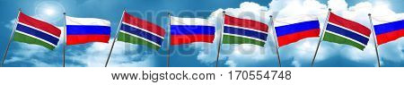 Gambia flag with Russia flag, 3D rendering