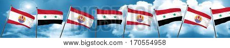 french polynesia flag with Syria flag, 3D rendering