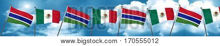 Gambia flag with Mexico flag, 3D rendering