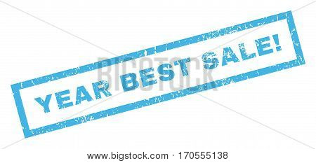 Year Best Sale exclamation text rubber seal stamp watermark. Tag inside rectangular banner with grunge design and dust texture. Inclined vector blue ink emblem on a white background.