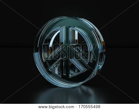 Glass Peace Symbol  3D Illustration