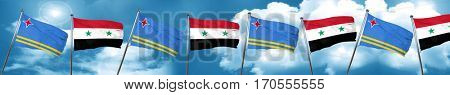 aruba flag with Syria flag, 3D rendering
