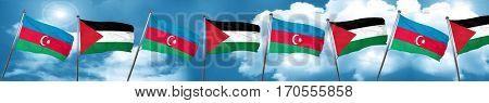 Azerbaijan flag with Palestine flag, 3D rendering