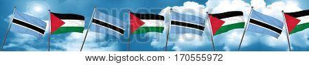 Botswana flag with Palestine flag, 3D rendering