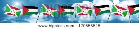 Burundi flag with Palestine flag, 3D rendering