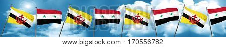 Brunei flag with Syria flag, 3D rendering